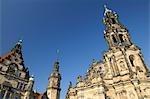 Château de Dresde, Katholische Hofkirche et tour Hausmann, Dresde, Saxe, Allemagne