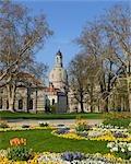Bruhl der Garten im Frühling, Dresdner Frauenkirche, Dresden, Sachsen, Deutschland