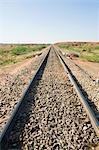 Railroad track passing through a landscape, Jodhpur, Rajasthan, India