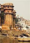 Buildings at the waterfront, Hampi, Karnataka, India