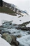 River flowing through rocks, Thajiwas Glacier, Sonamarg, Jammu and Kashmir, India