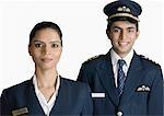 Portrait of a pilot with an air hostess