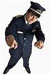 Erhöhte Ansicht ein pilot lächelnder