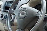 Close-up of a car steering wheel, Delhi, India