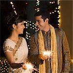 Couple celebrating diwali
