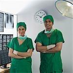 Portrait of two surgeons smiling