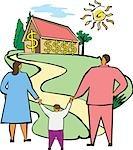 Paar mit ihrem Sohn in einem Haus suchen