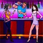 Barman qui dessert cocktail à deux femmes dans une boîte de nuit