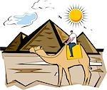 Tourisme à cheval sur un chameau près de pyramide, pyramides de Gizeh, le Caire, Egypte