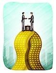 Zwei Geschäftsleute Unternehmen zusammenführen