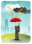Mann Betrieb Regenschirm im Sturm