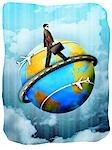 Businessman walking around a globe with a briefcase