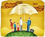 Darstellung der Familie mit repräsentativen Vertrieb stehen unter Dach