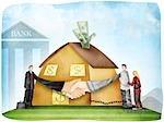 Handshake nach Vereinbarung Wohnungsbaudarlehen