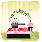Geschäftsmann, arbeiten auf einem Laptop auf dem Bett und Umzug in das Sparschwein Geld