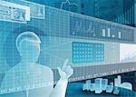 Kaufmann mit virtuellen Touchscreen für online-Handel