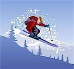 Man jumping while skiing
