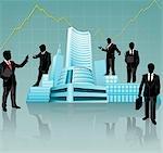 Geschäftsleute, um eine Aktie austauschen Haus, Bombay Stock Exchange, Mumbai, Maharashtra, Indien