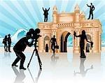 Movie shooting at a monument, Gateway of India, Mumbai, Maharashtra, India