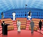 Politicians in front of a parliament house, Sansad Bhawan, New Delhi, India