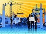 Architectes discuter le plan directeur sur chantier