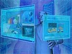 Kaufmann mit virtuelle Bildschirmen für Finanzaktivitäten