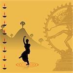 Woman performing Bharatnatyam the Indian classical dance