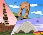 Montage of landmarks, India Gate, Qutub Minar, Lotus Temple, New Delhi, India