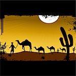 Hommes conduisant des chameaux dans le désert, Rajasthan, Inde