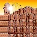 Vue d'angle faible d'un palace, Hawa Mahal, Jaipur, Rajasthan, Inde