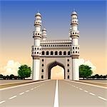 Facade of a mosque, Charminar, Hyderabad, Andhra Pradesh, India