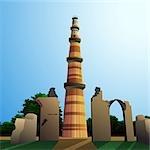 Low angle view of a monument, Qutub Minar, New Delhi, India