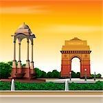 War memorial in a city, India Gate, New Delhi, India