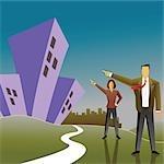 Unternehmer mit einer geschäftsfrau zeigt auf Wohnungen