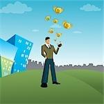 Geld aus der Brieftasche, gehalten von einem Geschäftsmann fliegen