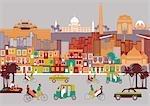 Stadt mit Montage von Sehenswürdigkeiten, Neu Delhi, Indien