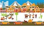 Stadt mit Montage von Sehenswürdigkeiten, Yucatan, Mexiko