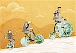 Drei Geschäftsmänner Geld Fahrräder