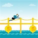 Businessman running on a money bridge