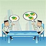 Zwei Geschäftsleute, die Planung an der Börse investieren über den Tisch mit Indien in einer Weltkarte hervorgehoben