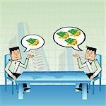 Zwei Geschäftsleute, Planung, über den Tisch der Weltkarte an der Börse investieren