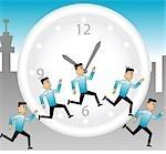 Illustration des hommes d'affaires en cours d'exécution autour de l'horloge