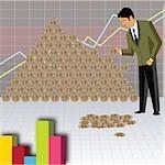 Businessman arranging money to make a money pyramid