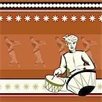 Man playing nagara with women performing Bharatnatyam behind him