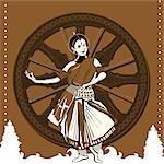 Woman performing Odissi dance at a temple, Konark Sun Temple, Konark, Orissa, India