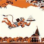 Lord Hanuman flying with Dronagiri mountain