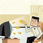 Businessman receiving e-mails