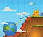 Geschäftsleute Wandern am Seil gebunden, zwischen Globus und einem Dollar-Zeichen