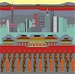 Illustration montrant des attractions touristiques populaires en Chine