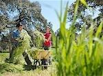 Man and woman putting hay in wheelbarrow